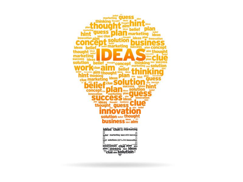 Light bulb with ideas